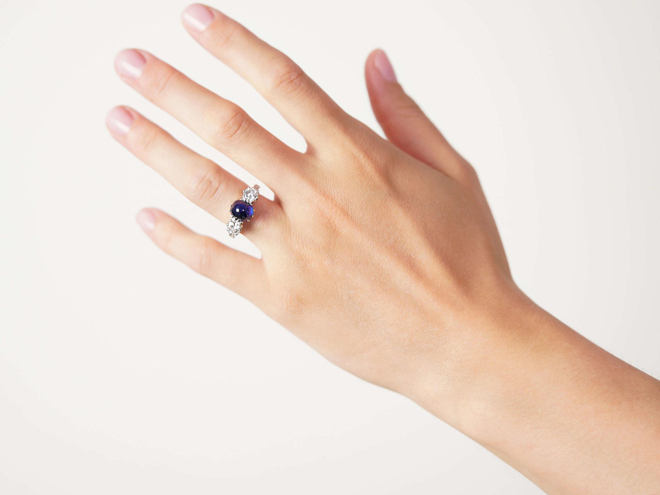 Art Deco Platinum, Cabochon Sapphire & Diamond Three Stone Ring