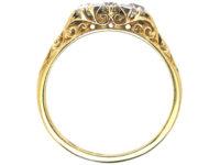 Edwardian 18ct Gold Three Stone Diamond Carved Half Hoop Ring
