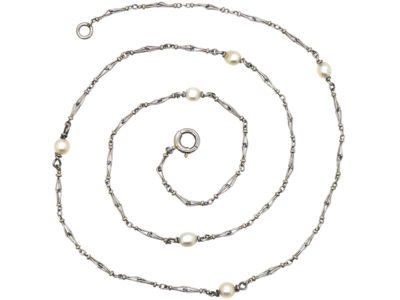 Edwardian Platinum & Natural Pearl Chain