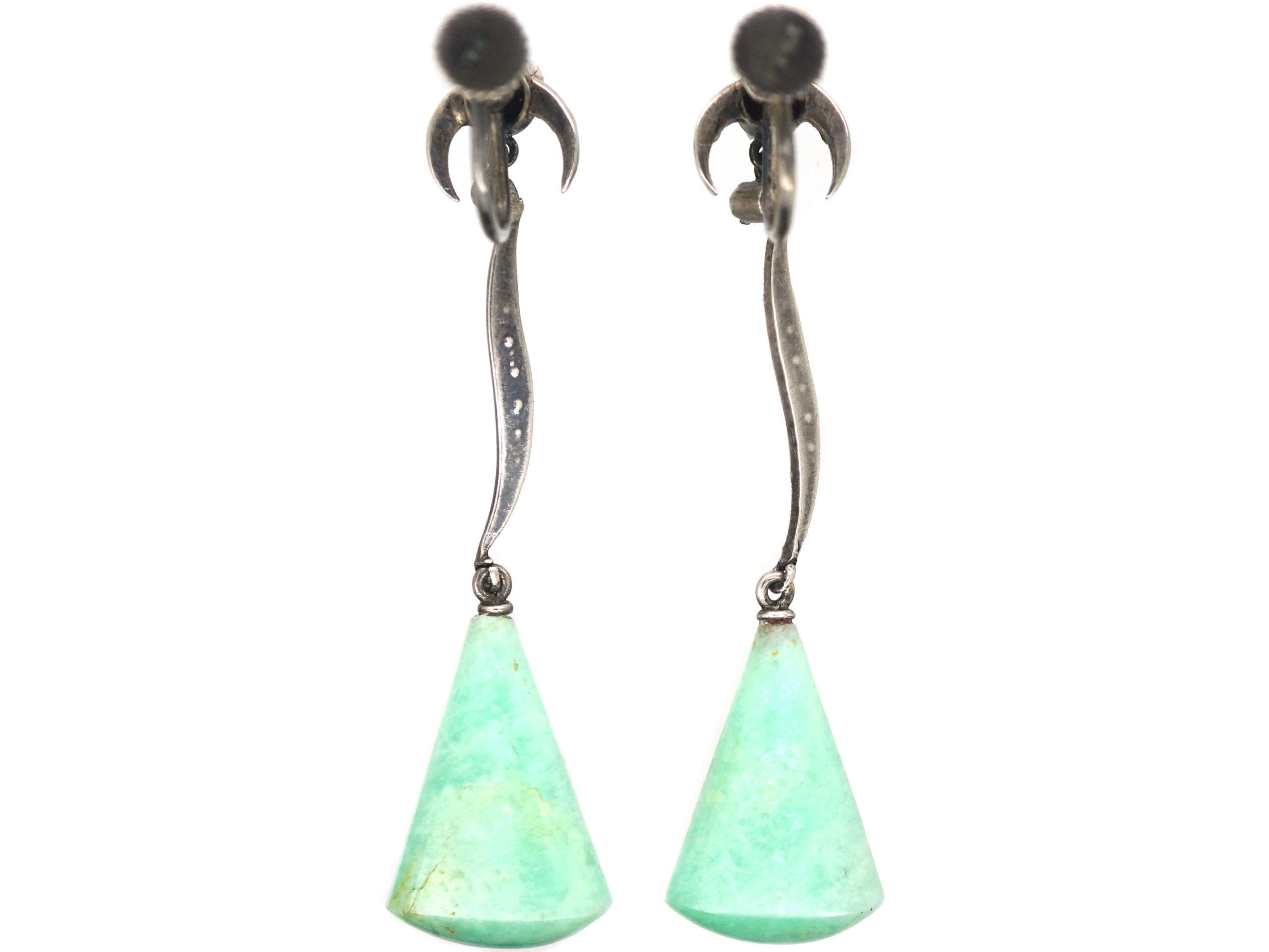 Art Deco Silver, Amazonite, Onyx & Marcasite Drop Earrings