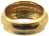 French Art Deco 18ct Gold Ribbed Design Ring