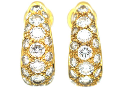 Retro 18ct Gold Diamond Set Hoop Earrings