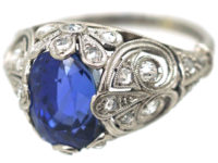 Art Deco Sapphire & Diamond Ring with Highly Ornate Mount