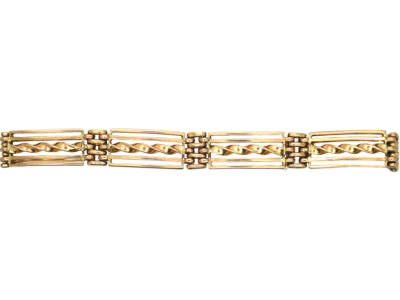 Edwardian 9ct Gold Gate Bracelet with Barley Twist Detail