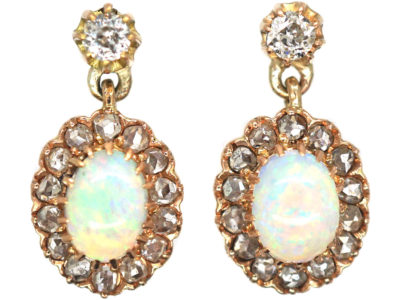Edwardian 14ct Gold, Opal & Diamond Drop Cluster Earrings