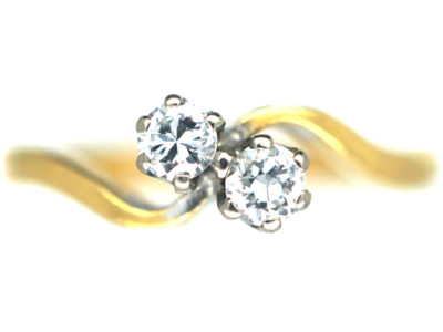 Edwardian 18ct Gold & Platinum, Two Stone Diamond Twist Ring