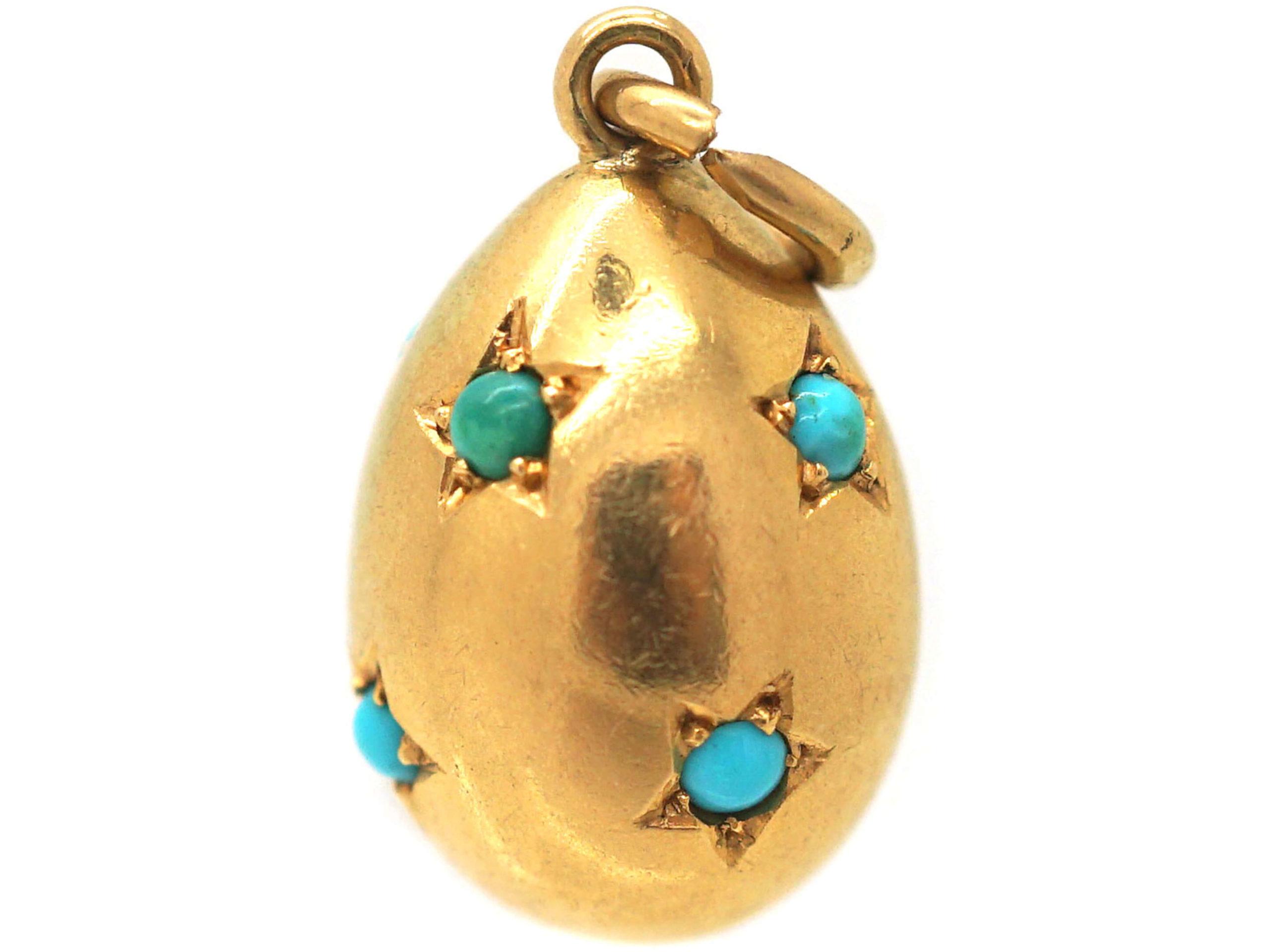 Edwardian 15ct Gold Egg Pendant set with Turquoise