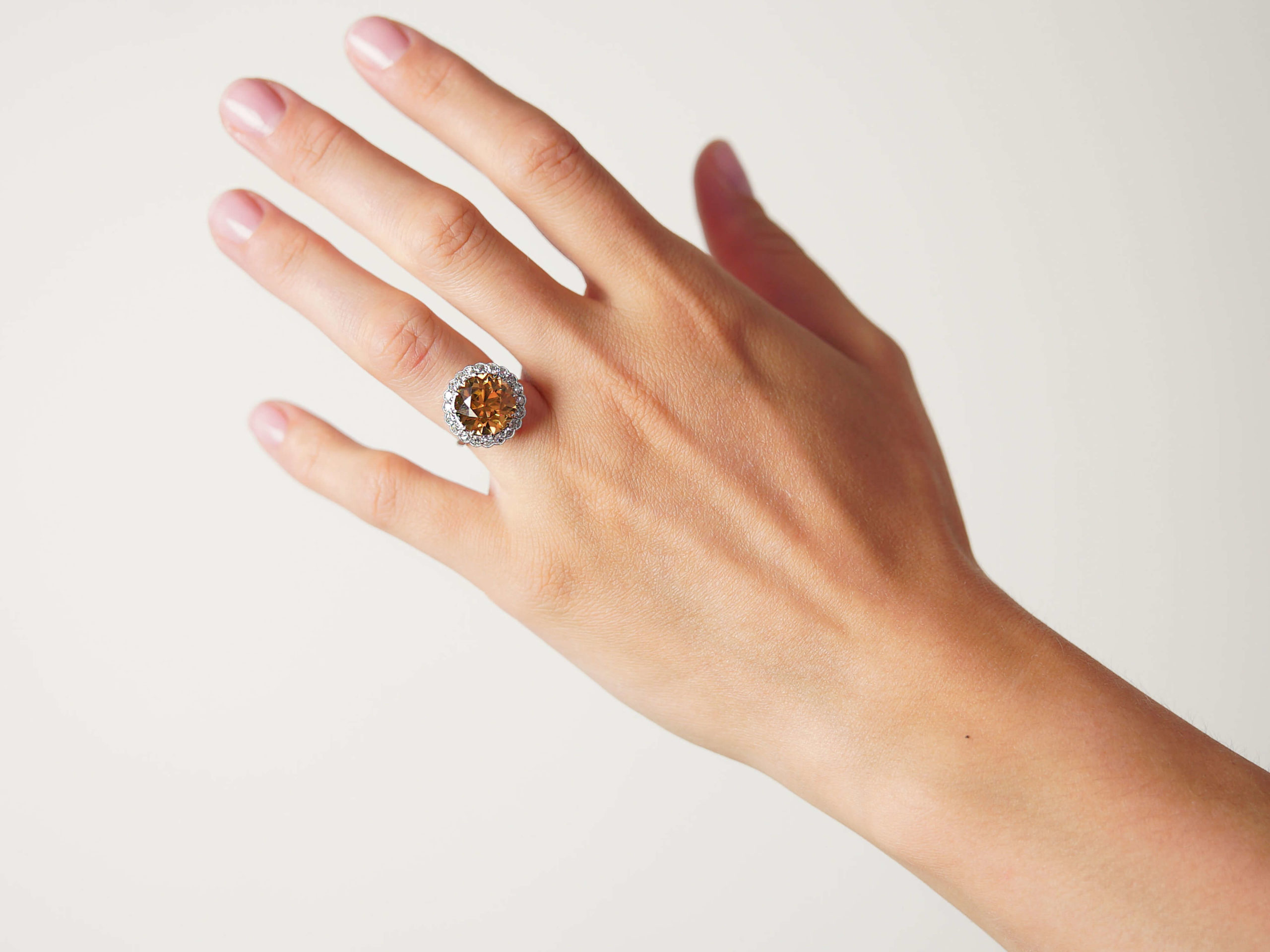 Art Deco Platinum, Zircon & Diamond Large Cluster Ring