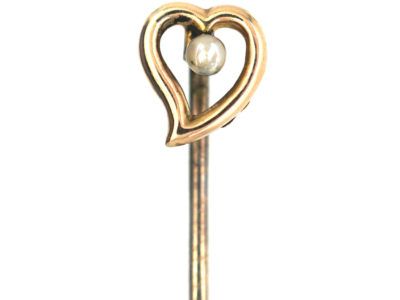 Edwardian 9ct Gold and Pearl Heart tie pin