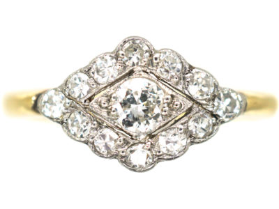Edwardian 18ct Gold & Platinum, Diamond set Diamond Shaped Ring