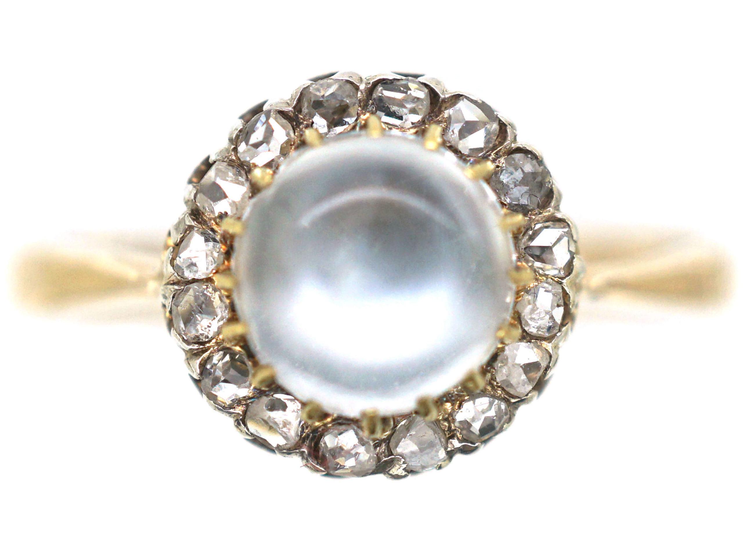 Edwardian 9ct Gold Moonstone & Rose Diamond Ring