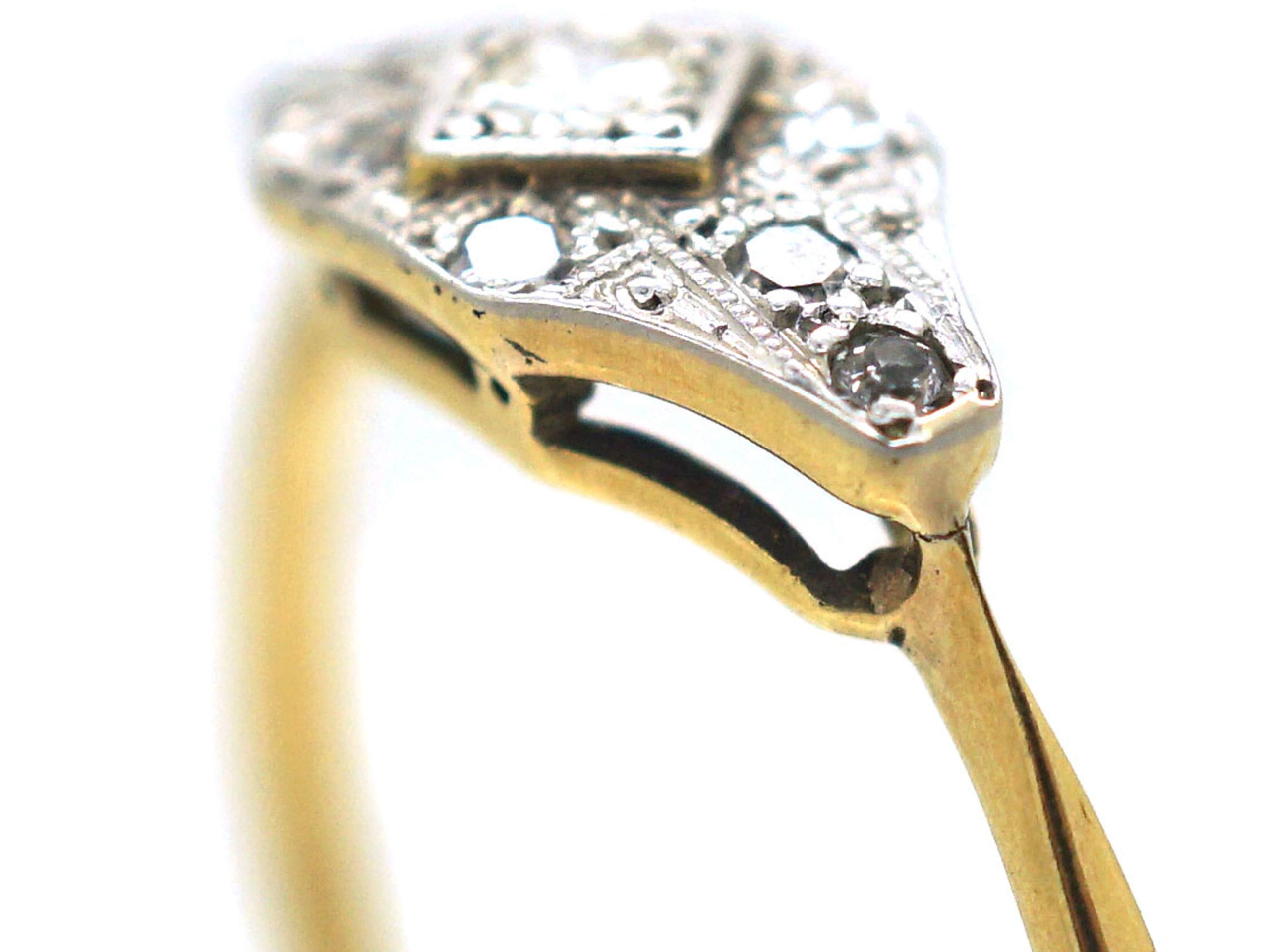 Art Deco 18ct Gold & Platinum Diamond Ring