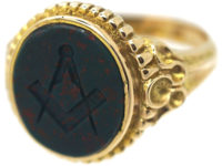 Victorian 15ct Gold Signet Ring set with Bloodstone with Masonic Intaglio