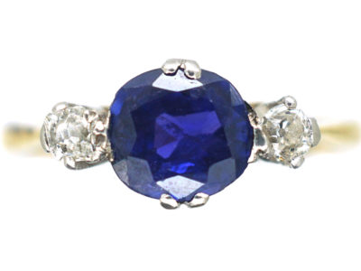 Edwardian 18ct Gold & Platinum, Colour Change Sapphire & Diamond Three Stone Ring