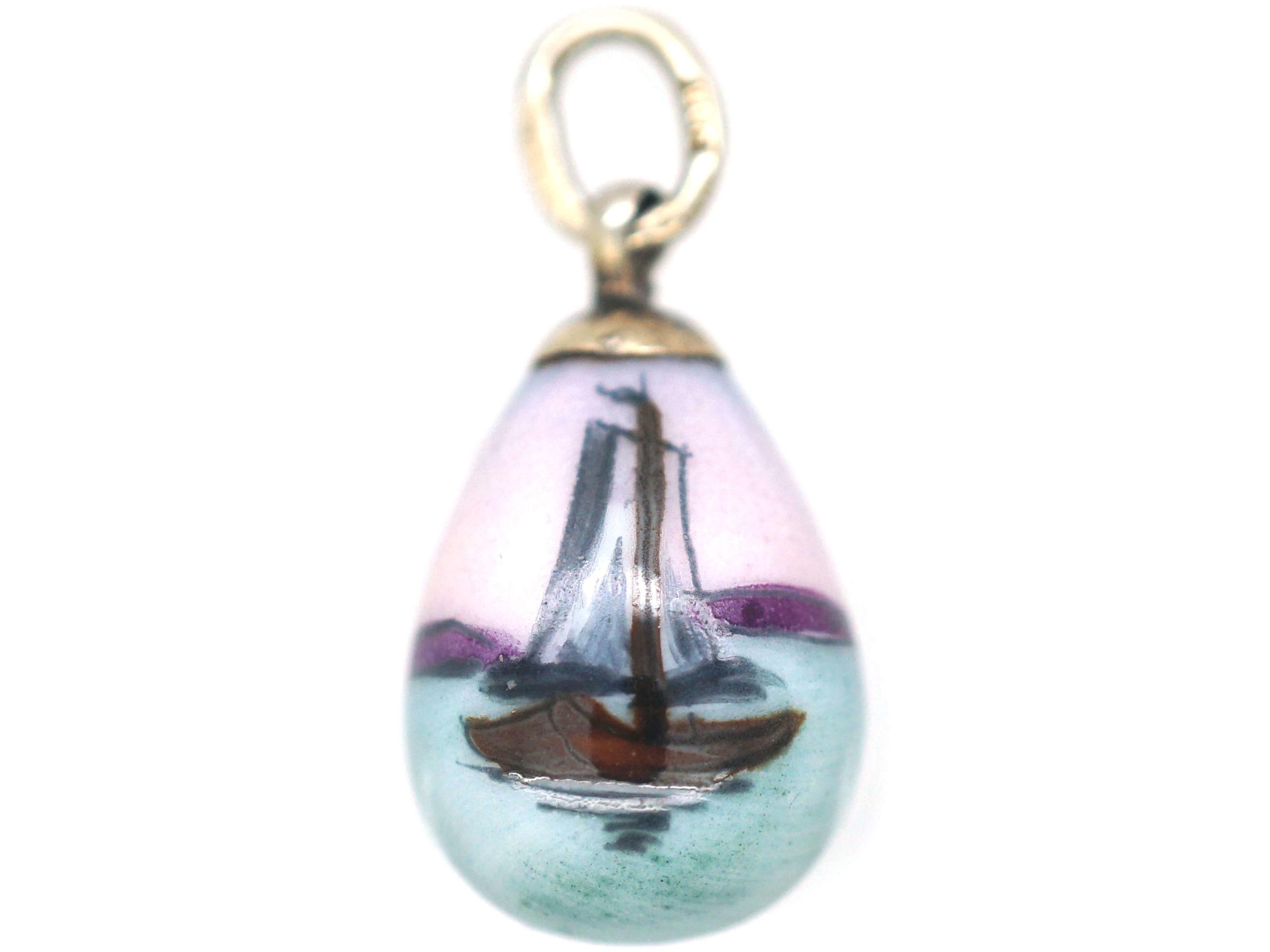 Russian Silver & Enamel Egg of a Boat & Windmill