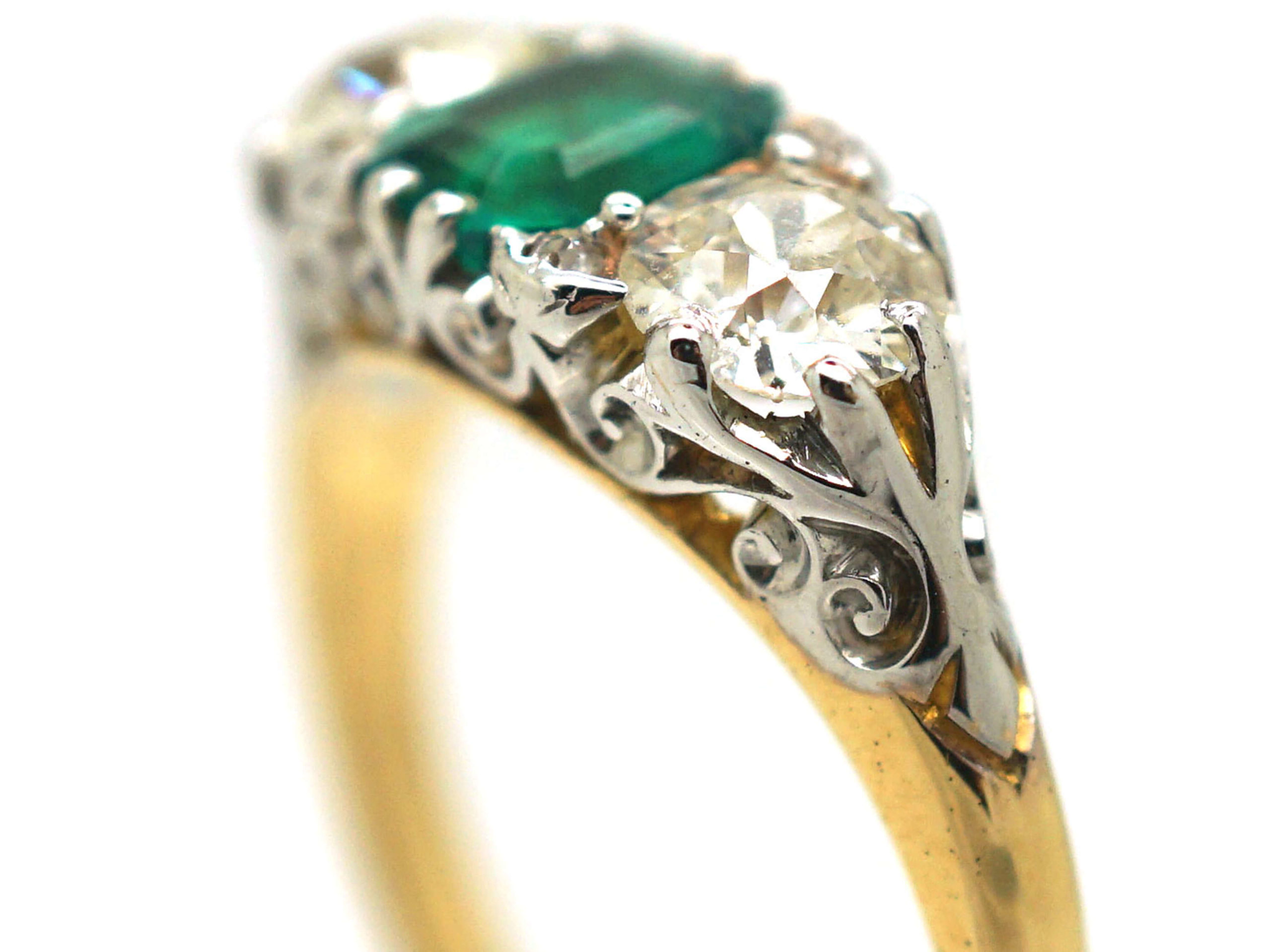 Victorian 18ct Gold, Emerald & Diamond Three Stone Carved Half Hoop Ring