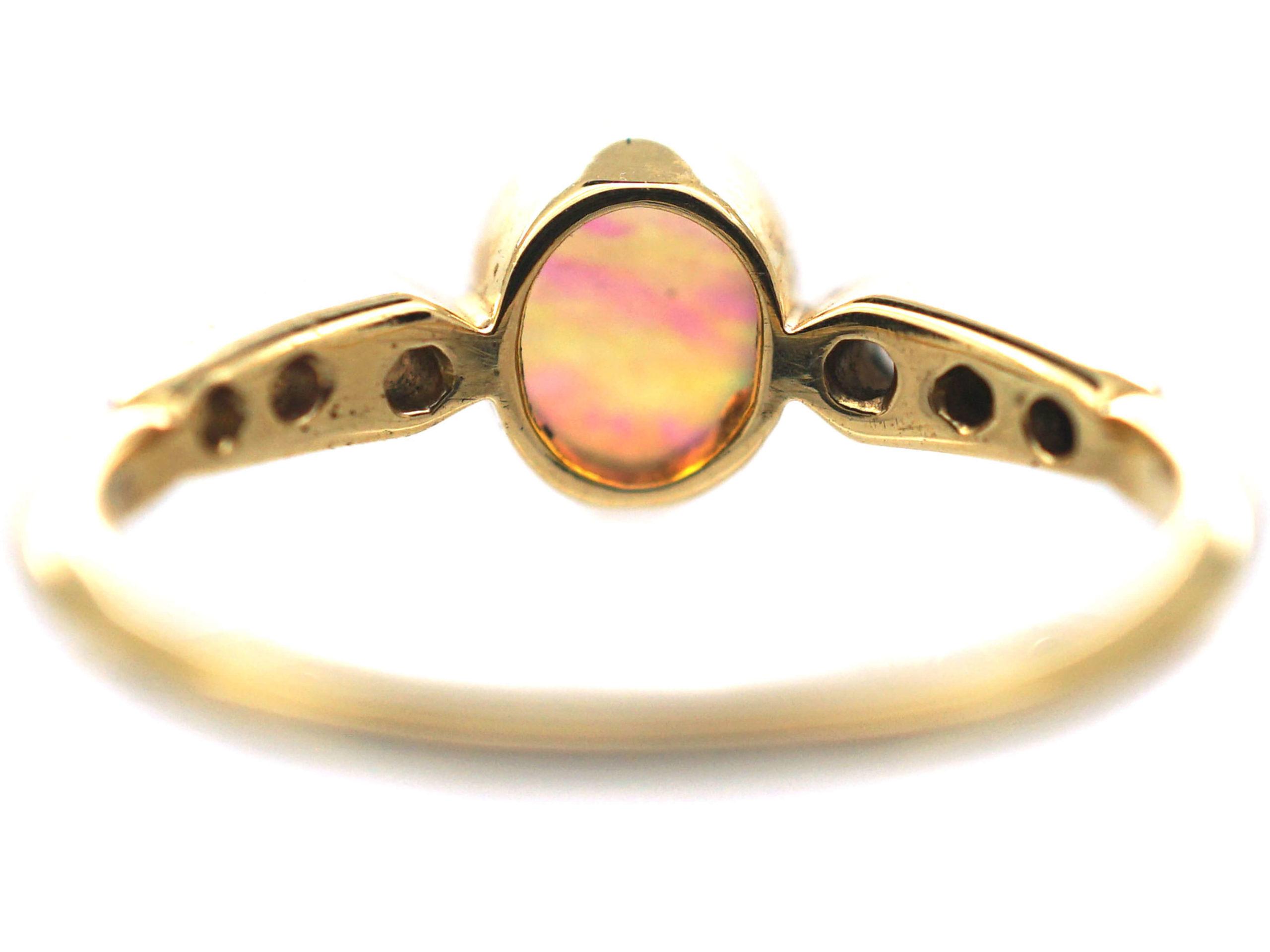 Edwardian 18ct Gold & Platinum Opal & Diamond Ring