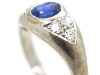 18ct White Gold, Sapphire & Diamond Boat Shaped Ring