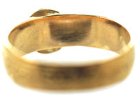 Victorian 18ct Gold & Engraved Flowers Buckle Ring