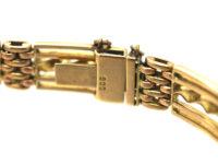 Edwardian 9ct Gold Gate Bracelet with Barley Twist Detail