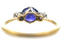 Edwardian 18ct Gold & Platinum, Colour Change Sapphire & Diamond Three Stone Ring