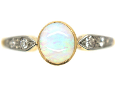 Edwardian 18ct Gold & Platinum Opal & Diamond Ring