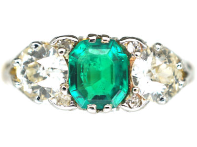 Victorian 18ct Gold, Emerald & Diamond Three Stone Carved Half Hoop Ring