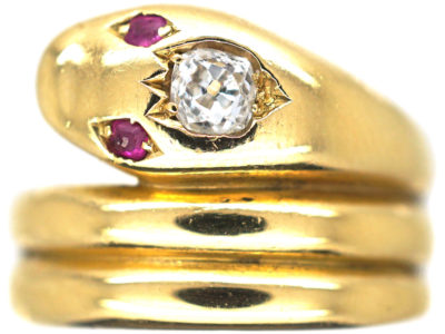 Victorian 18ct Gold Snake Ring set with a Diamond & Ruby Eyes