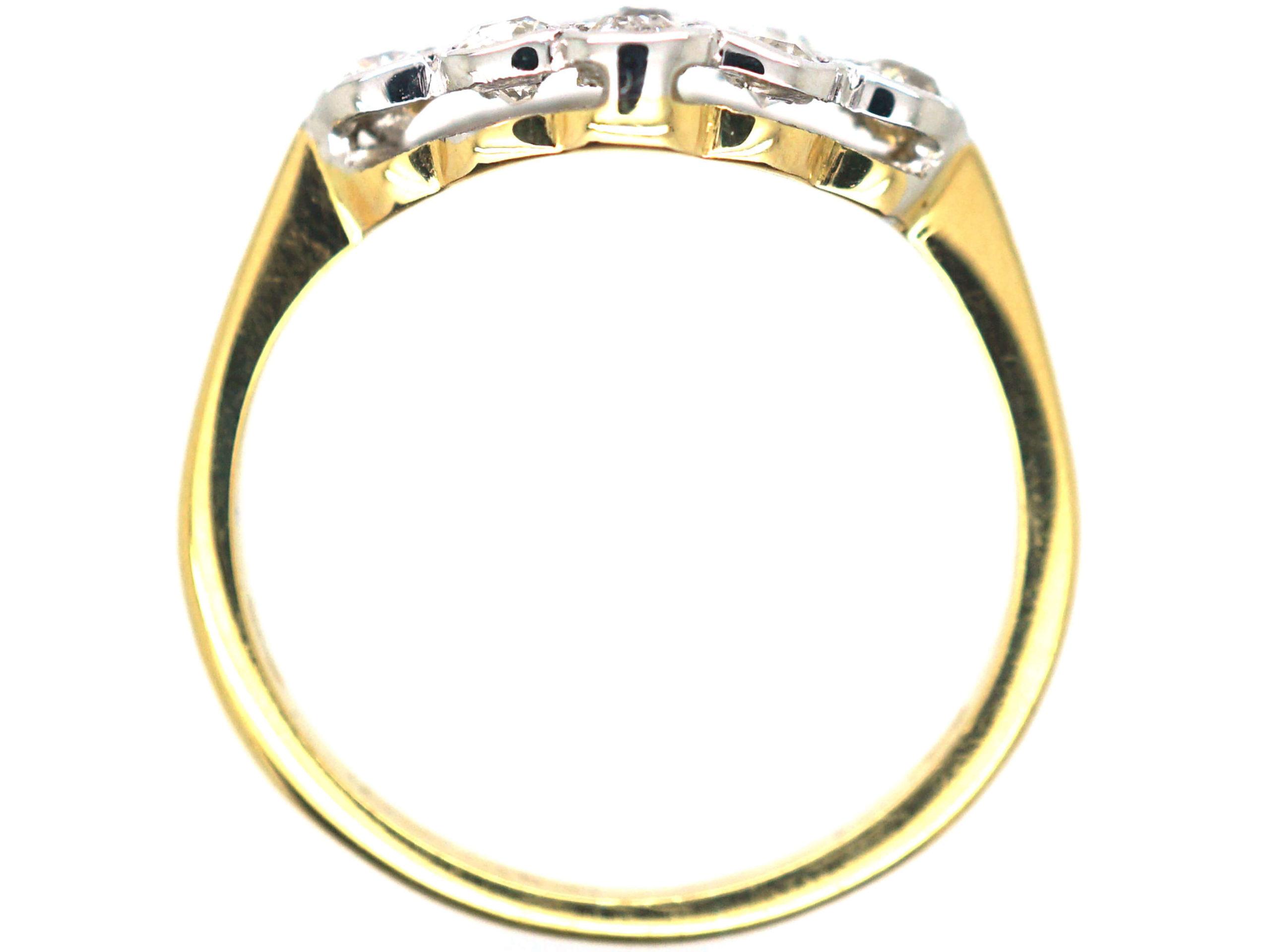 Edwardian 18ct Gold & Platinum Diamond Oval Cluster Ring