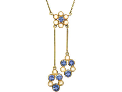 Edwardian 15ct Gold Sapphire & Natural Split Pearls Negligee Design Pendant