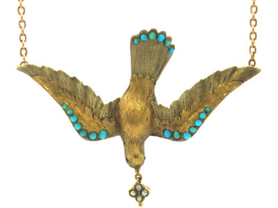 Regency 15ct Two Colour Gold St Esprit Dove Pendant set with Turquoise on 15ct Gold Chain