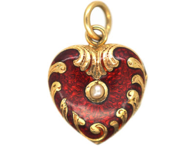 Edwardian 15ct Gold, Natural Split Pearl & Strawberry Red Enamel Heart Shaped Locket