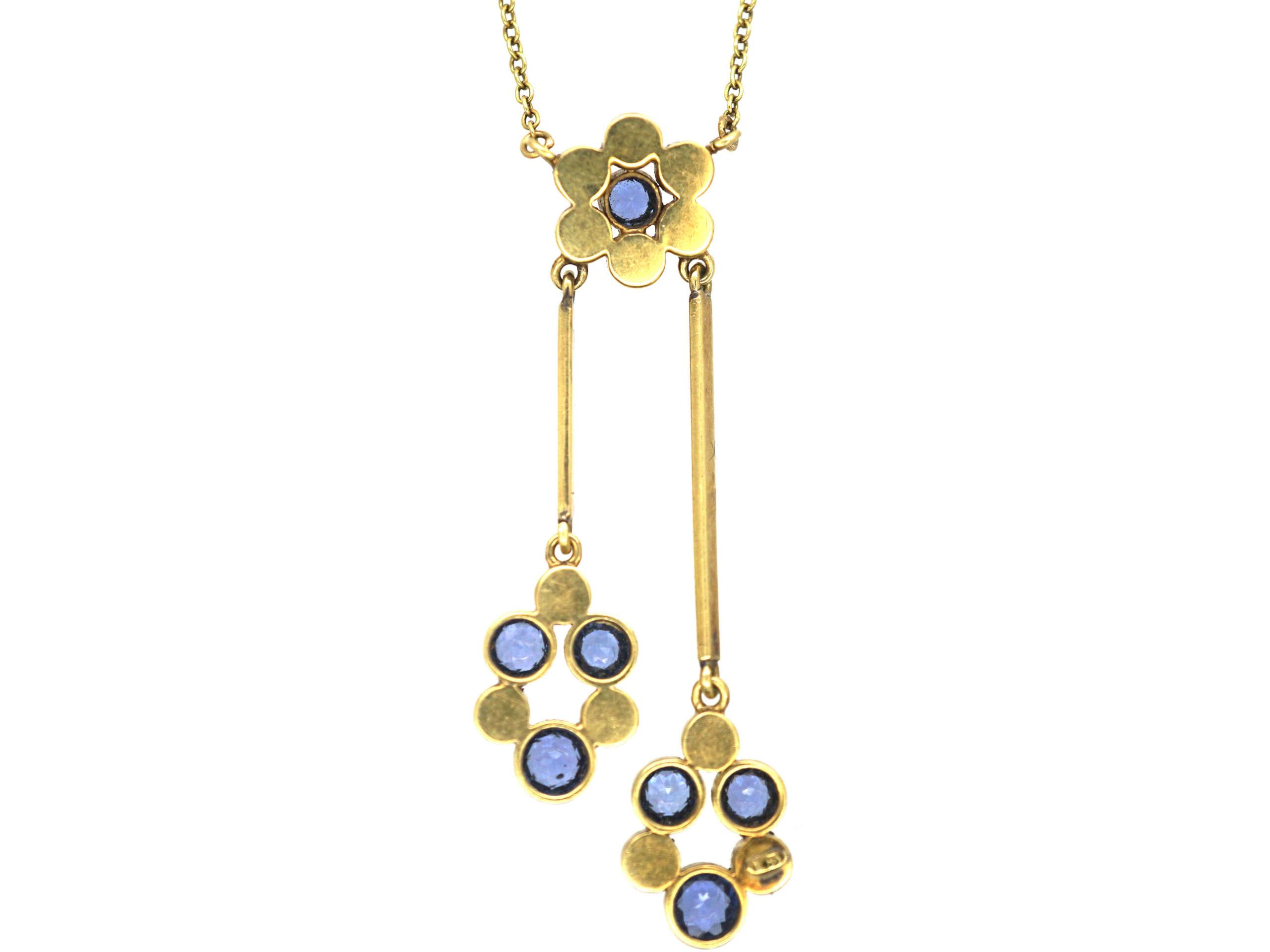 Edwardian 15ct Gold Sapphire & Natural Split Pearls Negligee Design Pendant