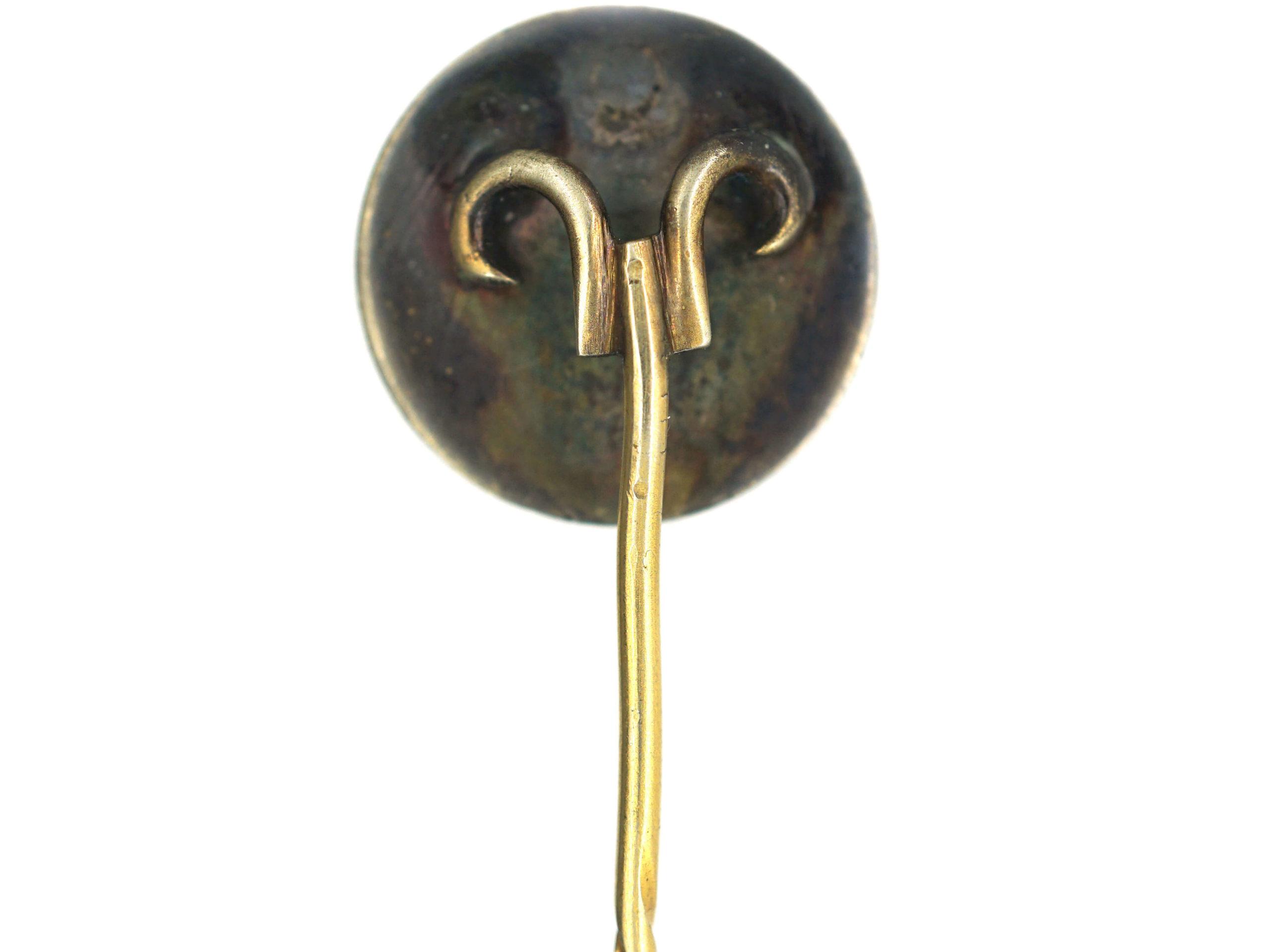 Victorian Silver Gilt & Enamel Four Pence Brittania Tie Pin