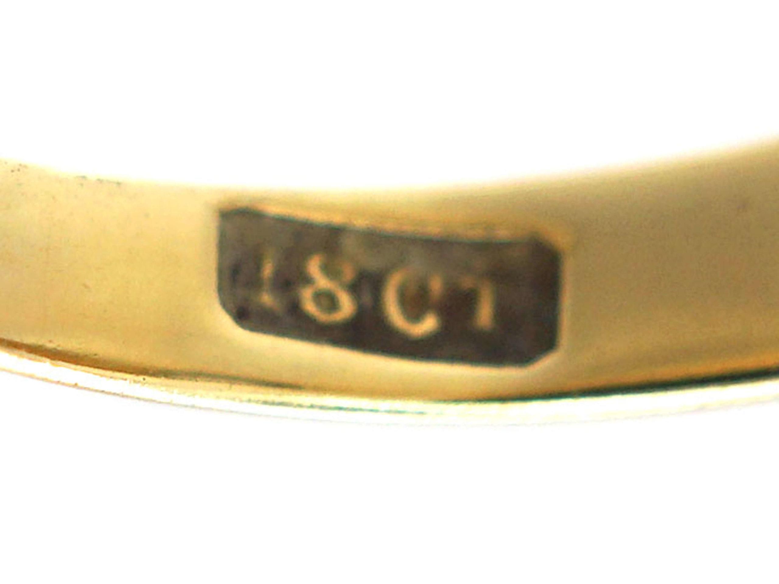 Victorian 18ct Gold & Diamond Rub Over Set Ring