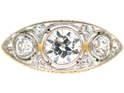 Art Deco 18ct Gold & Platinum, Three Stone Diamond Ring