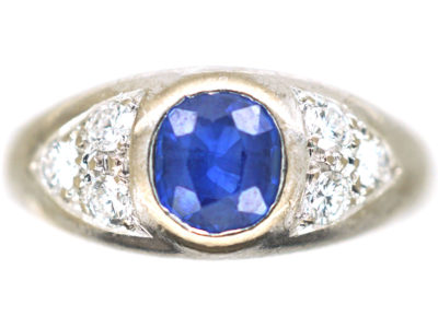 18ct White Gold, Sapphire & Diamond Boat Shaped Ring