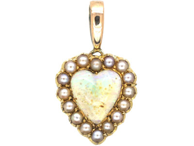 Edwardian 15ct Gold, Opal & Natural Split Pearl Heart Pendant
