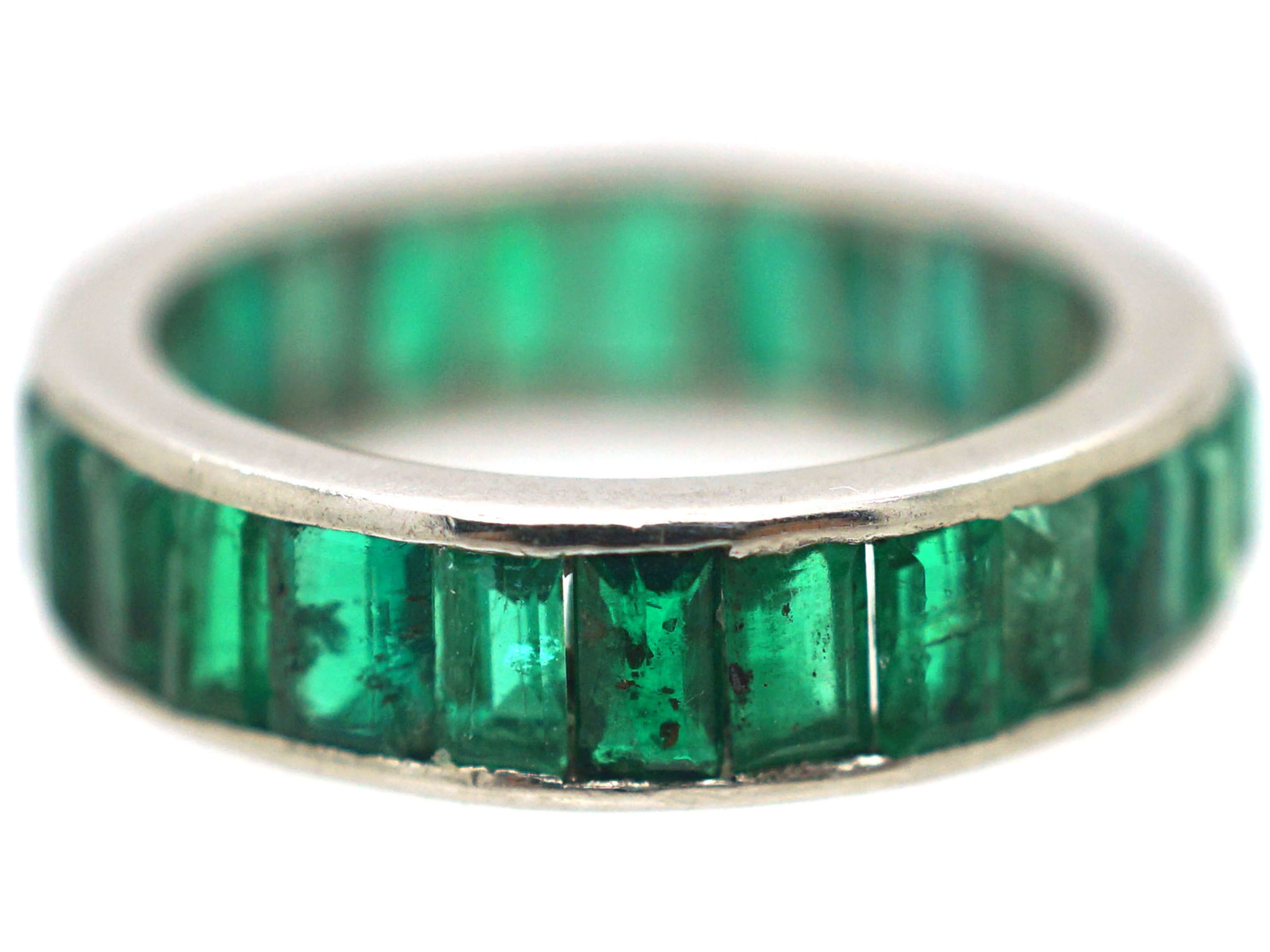 Art Deco 18ct White Gold Full Eternity Ring set with Baguette Cut Emeralds