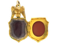 Victorian 18ct Gold Locket set with a Bloodstone & a Carnelian with an Eagle