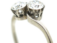 Edwardian Platinum & Diamond Two Stone Crossover Ring