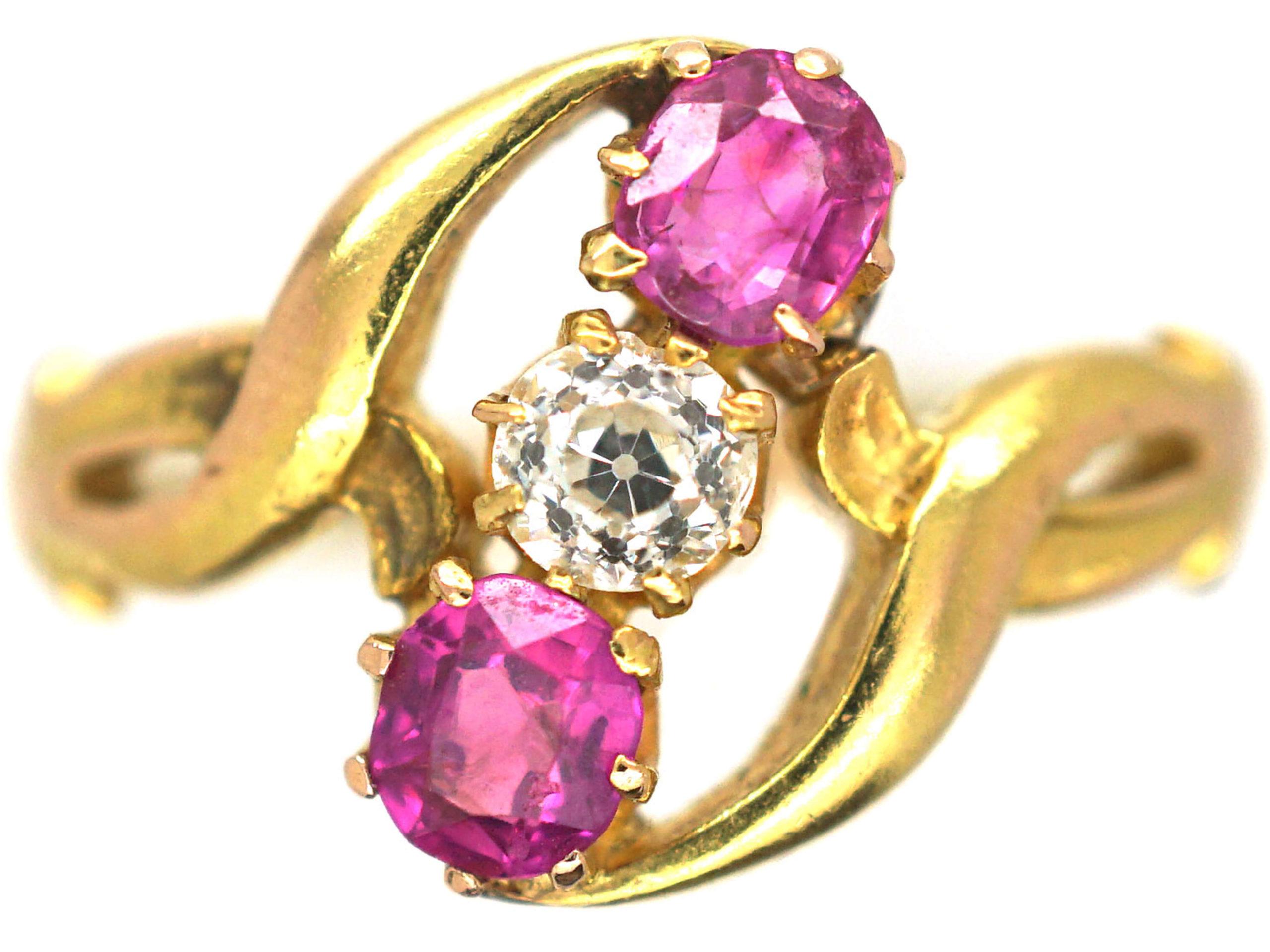 Art Nouveau 14ct Gold Pink Sapphire & Diamond Crossover Ring