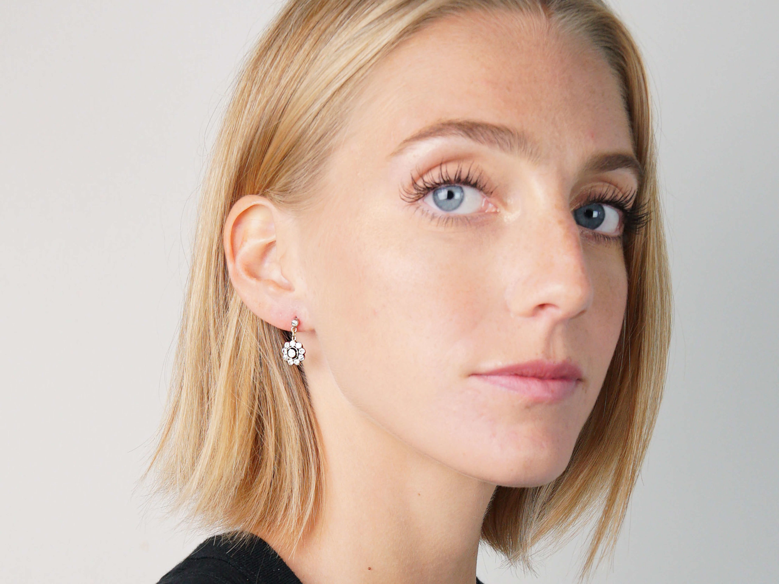 Edwardian Platinum & Diamond Drop Cluster Earrings