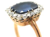 18ct Gold, Ceylon Sapphire & Diamond Cluster Ring