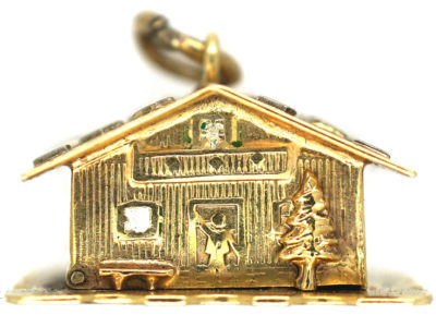Swiss Chalet 14ct Gold & Enamel Charm with Couple in Bed Inside