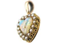 Edwardian 15ct Gold, Opal & Natural Split Pearl Heart Pendant