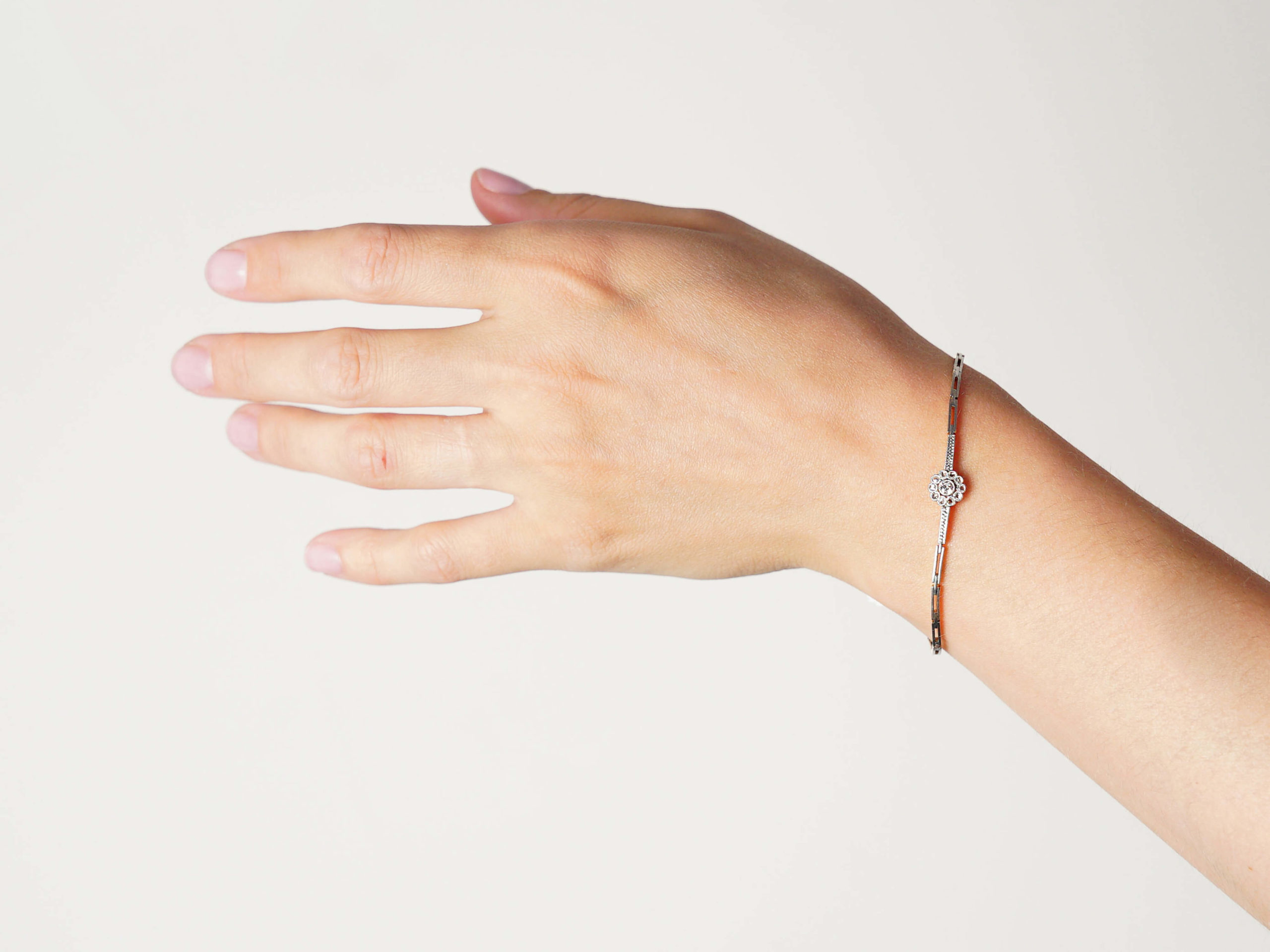 Edwardian 15ct Gold & Platinum, Diamond Cluster Bracelet