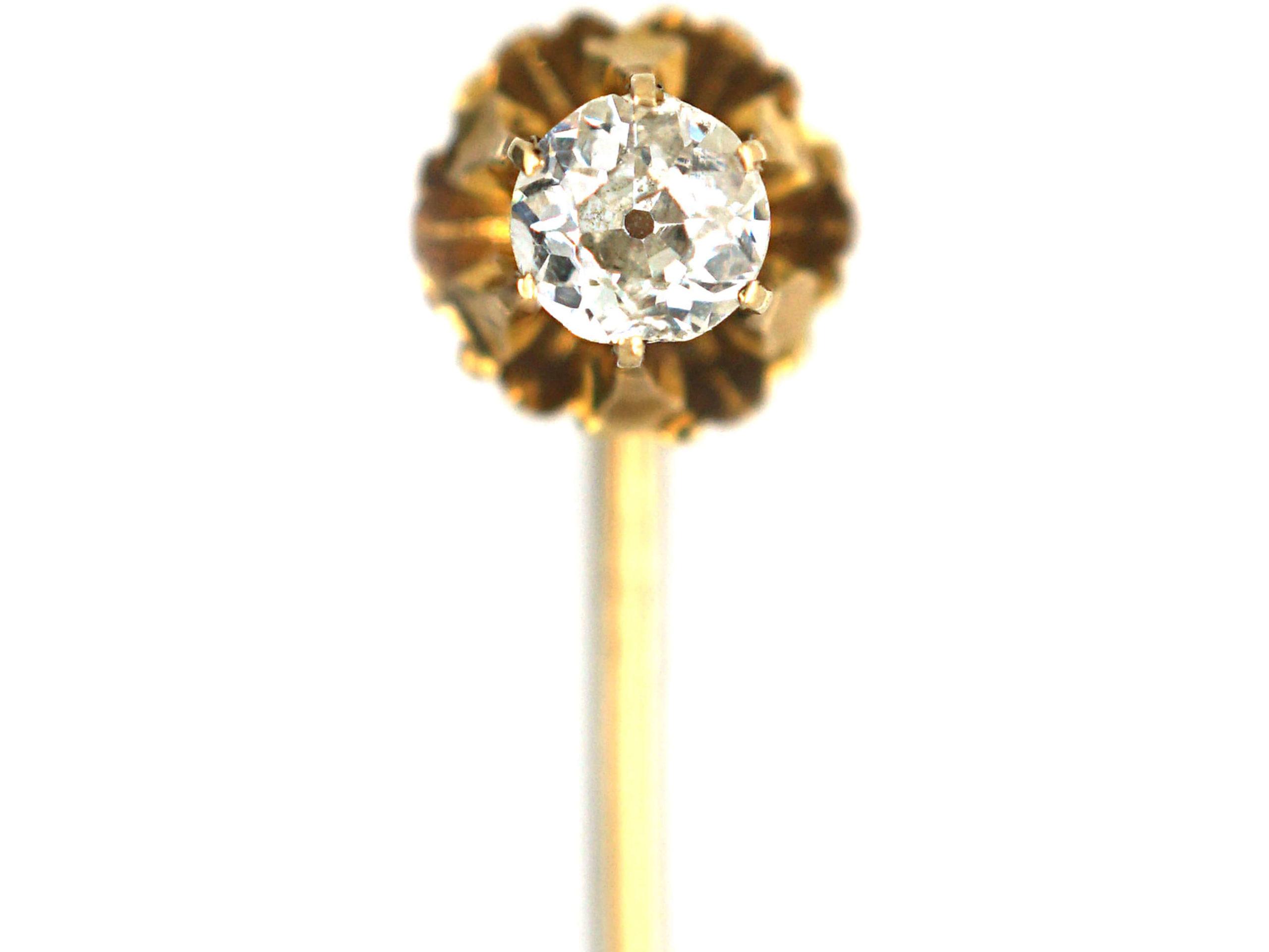 Victorian 18ct Gold Single Old Mine Cut Diamond Stick pin