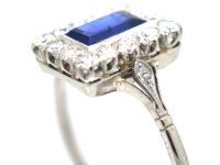 Art Deco Platinum Sapphire & Diamond Rectangular Shaped Ring