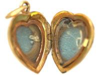 Edwardian 15ct Gold, Natural Split Pearl & Strawberry Red Enamel Heart Shaped Locket